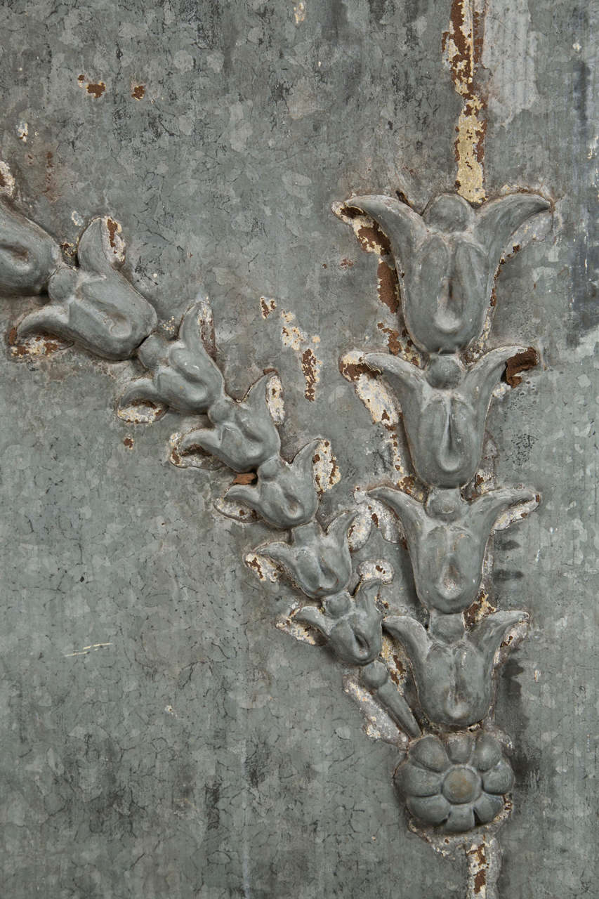 Zinc Over-Door Panel with Flower/Vine Decoration ca. 1880-1900 2