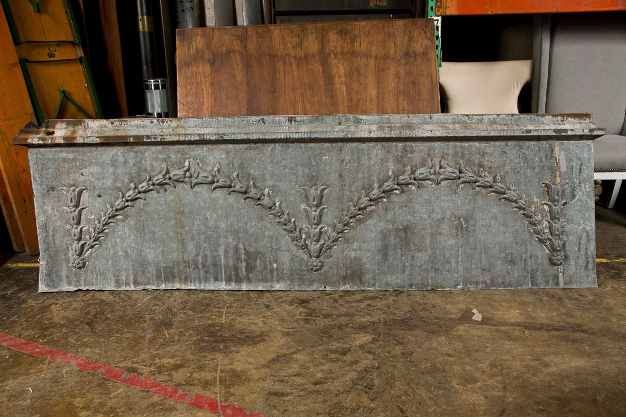 Zinc over door panel with flower vine decoration ca 1880 for Decoration zinc
