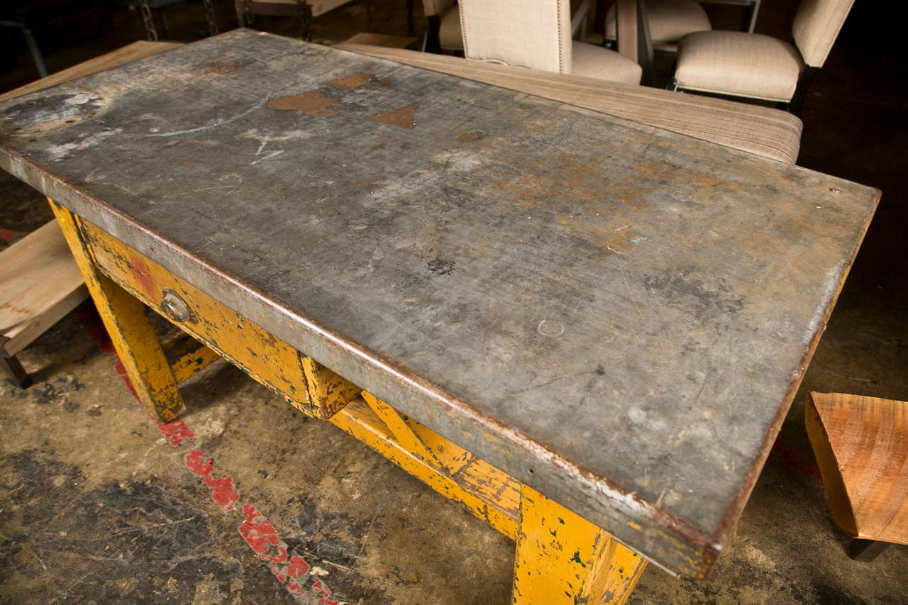 Polished Zinc Table Top - Vintage american zinc top factory work table c 1920 40 3