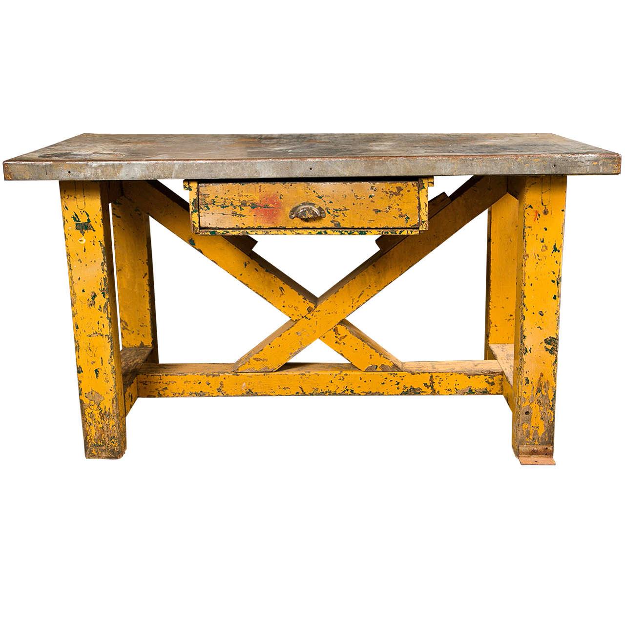 vintage american zinc top factory work table, c. 1920-40 at 1stdibs