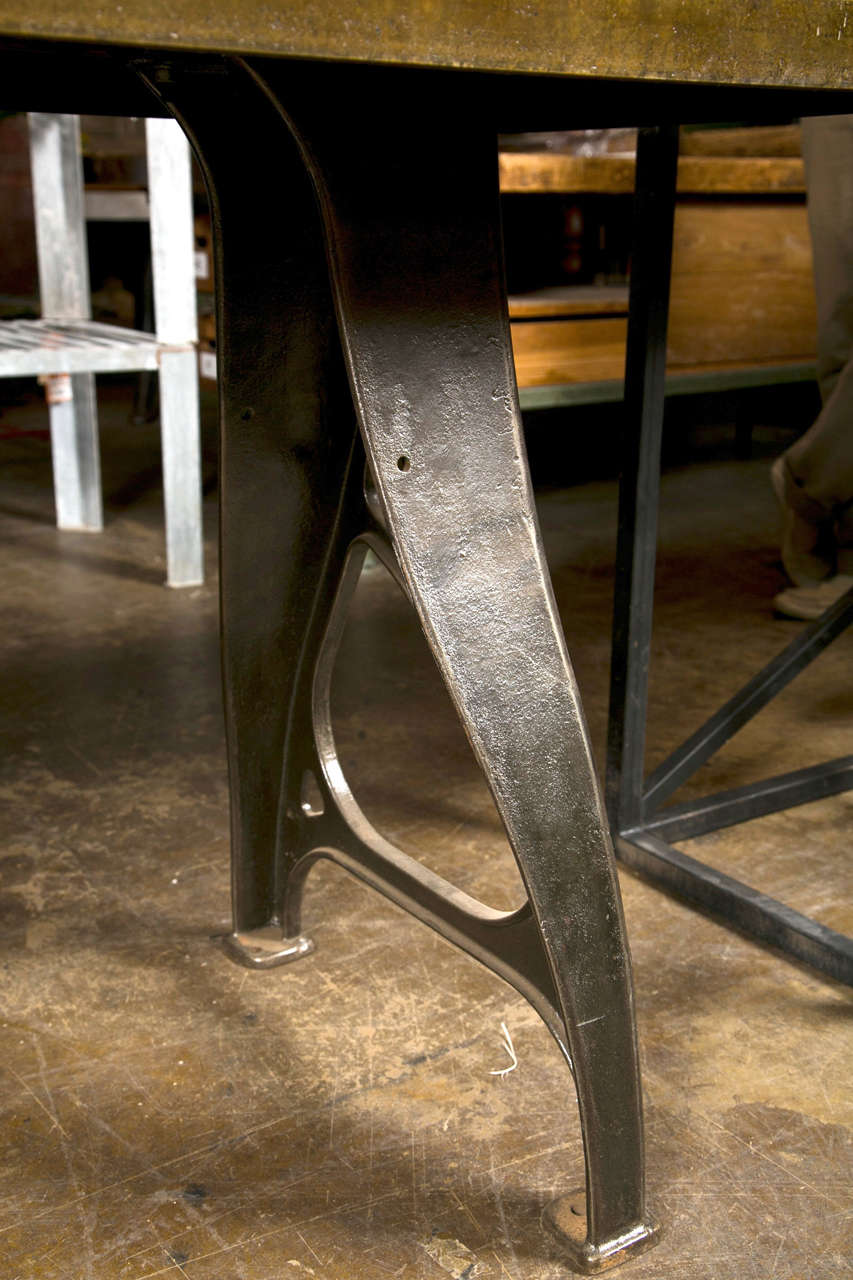 Industrial work table with steel top and cast iron legs for Iron cast table legs