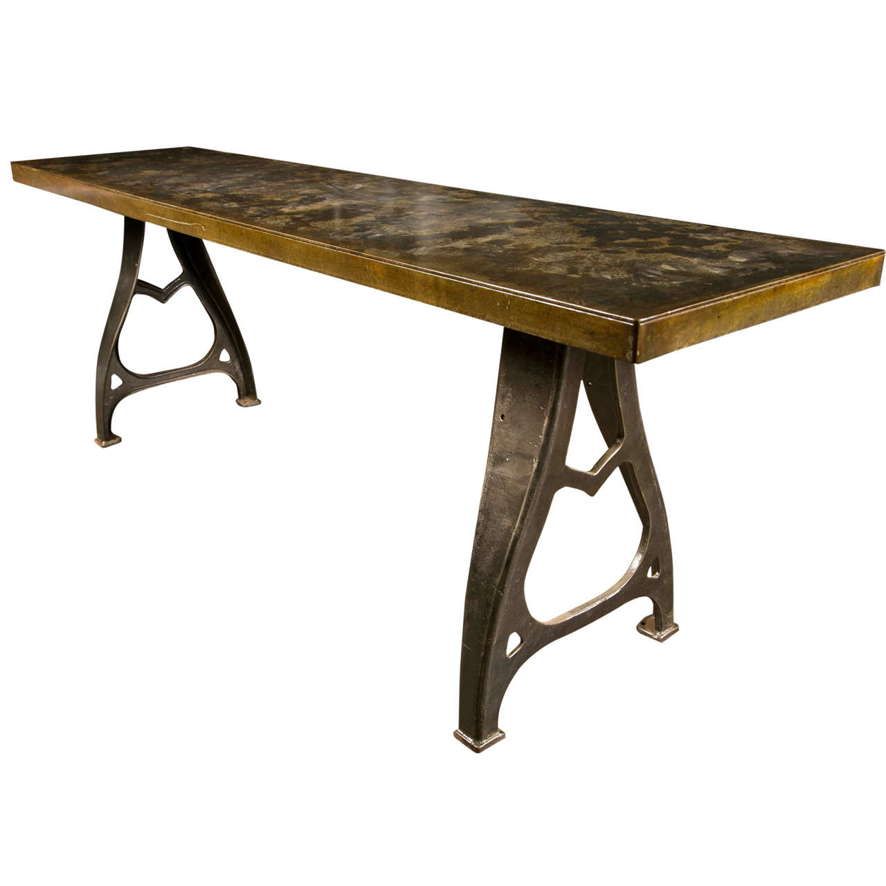 id f kitchen work tables Industrial Work Table With Steel Top And Cast Iron Legs Mid century 1