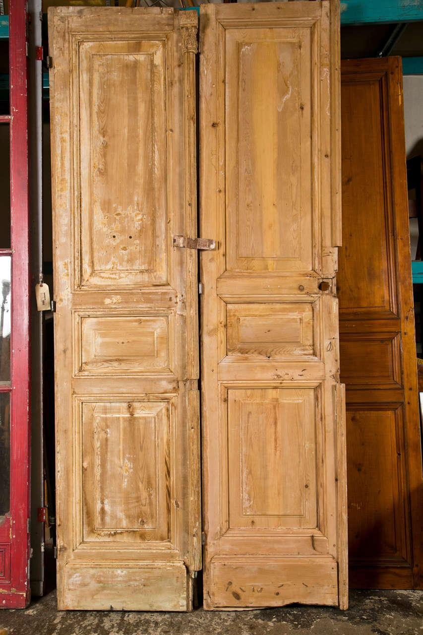 Pair of French Pine Doors 19th Century 8