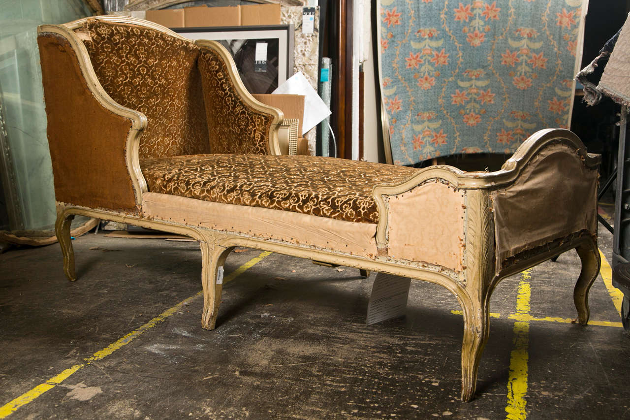 French Painted Oak Chaise Longue in the Rococo Style, Louis XV ...