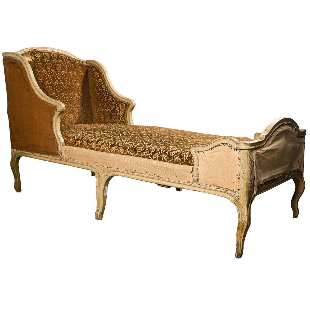 French Painted Oak Chaise Longue in the Rococo Style, Louis XV ... on