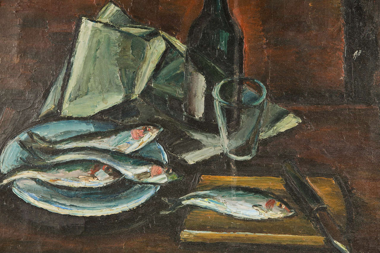 French oil on canvas still life of fish and a wine bottle, c. 1940-60