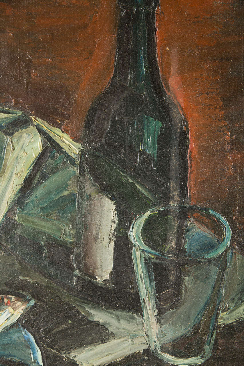 French Mid-century Still Life Of Fish And A Wine Bottle, C. 1940-60 4