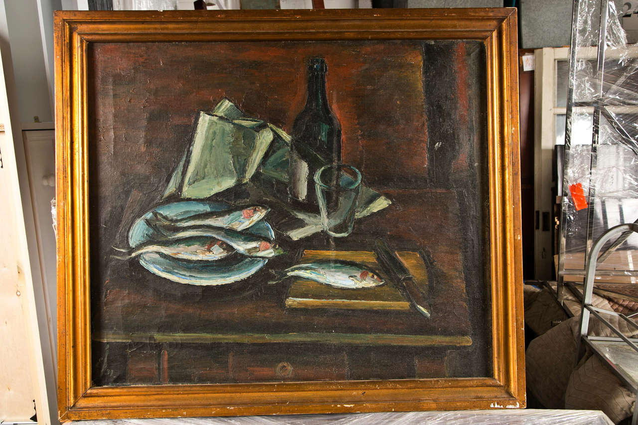 French Mid-century Still Life Of Fish And A Wine Bottle, C. 1940-60 For Sale 2