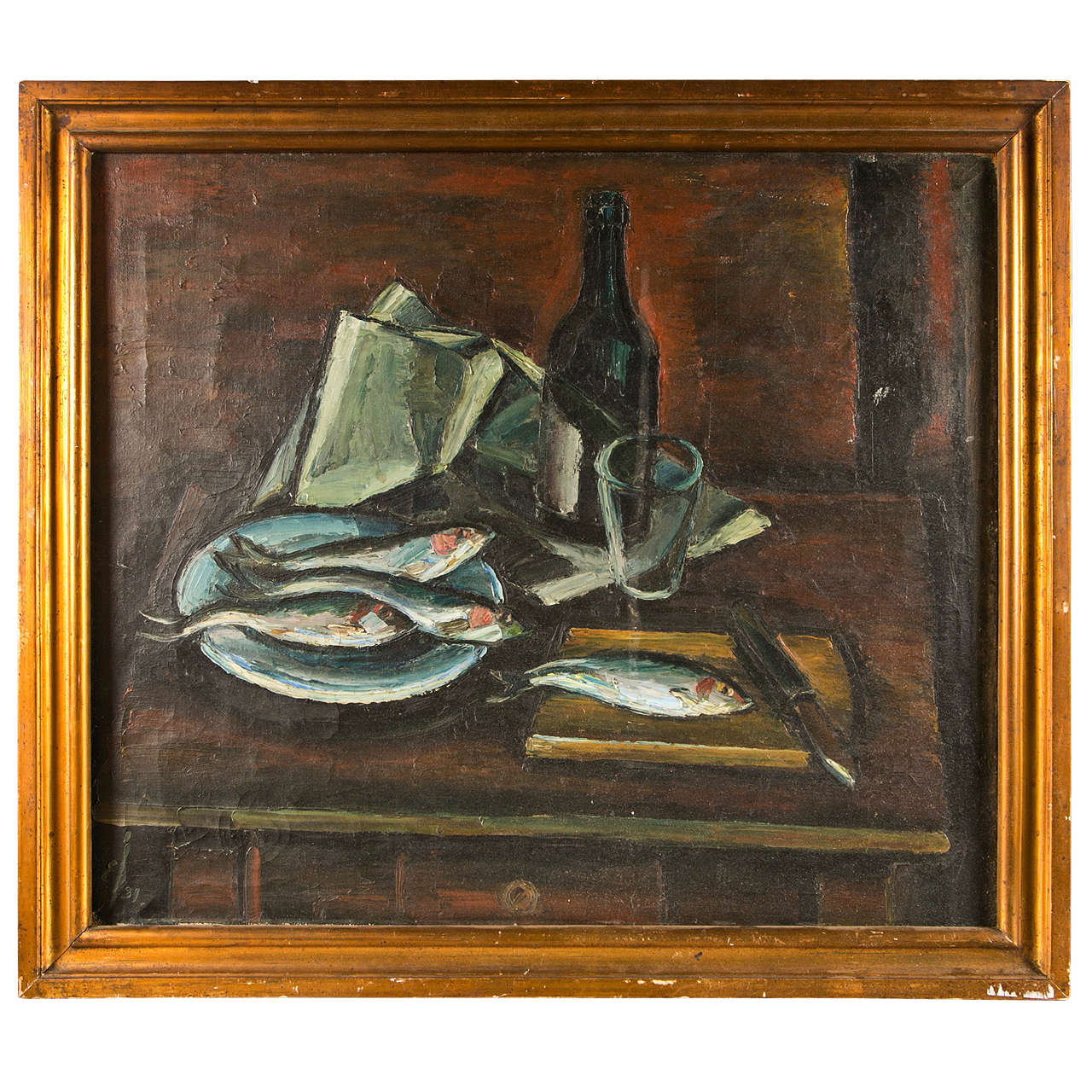 French Mid-century Still Life Of Fish And A Wine Bottle, C. 1940-60 For Sale