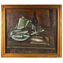 French Mid-century Still Life Of Fish And A Wine Bottle, C. 1940-60
