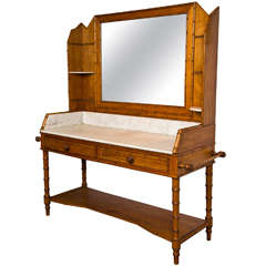 French Pine Faux Bamboo Vanity, C. 1890-1900