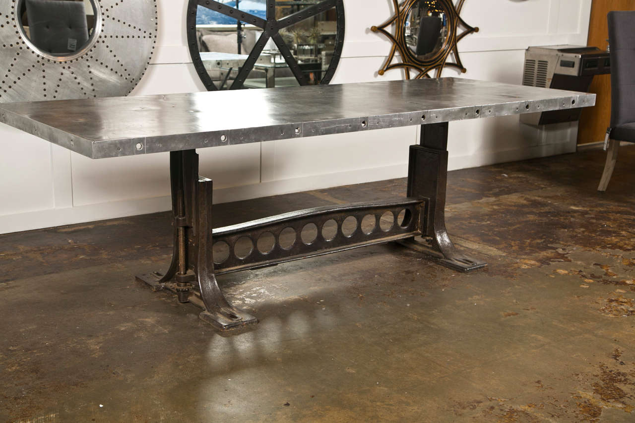 Industrial style dining table at 1stdibs for Kitchen set industrial
