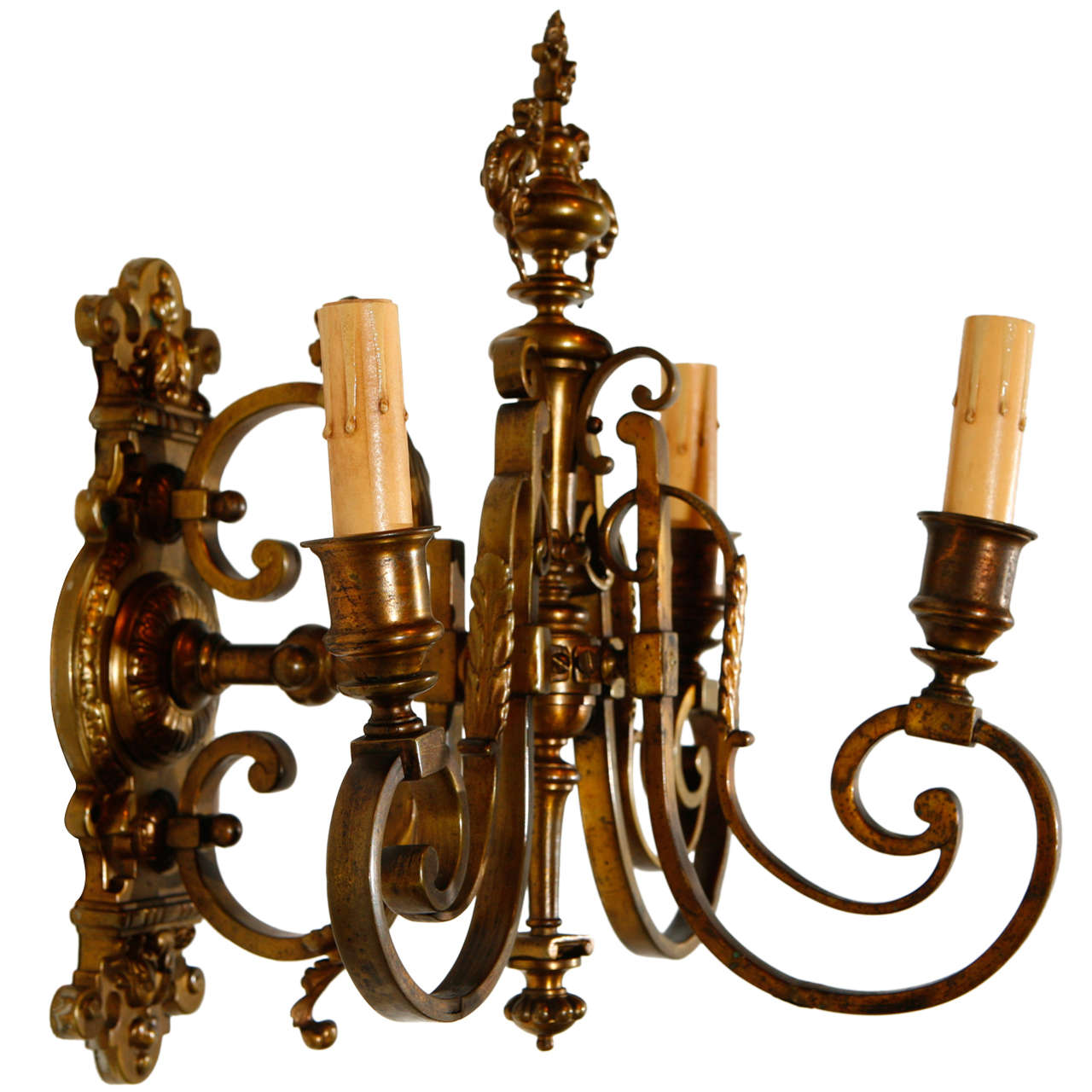 Brass Single Wall Lights : Single Cast Brass French Sconce For Sale at 1stdibs