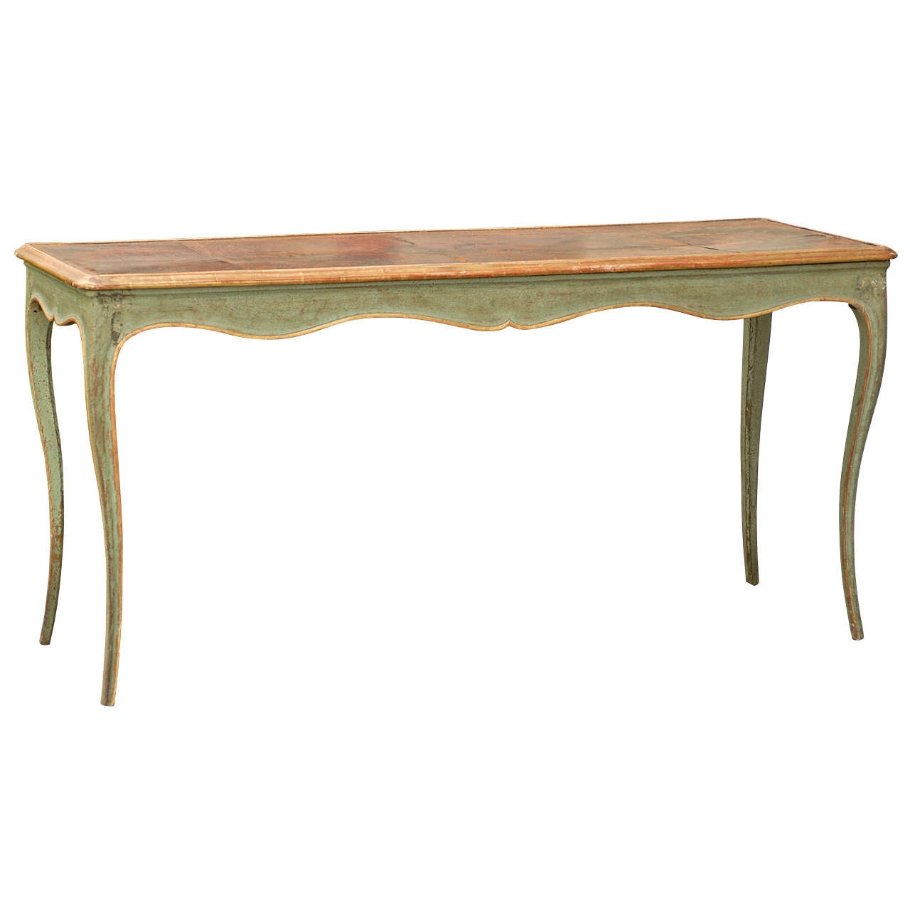 19thc Italian Painted Table With Aged Leather Top At 1stdibs