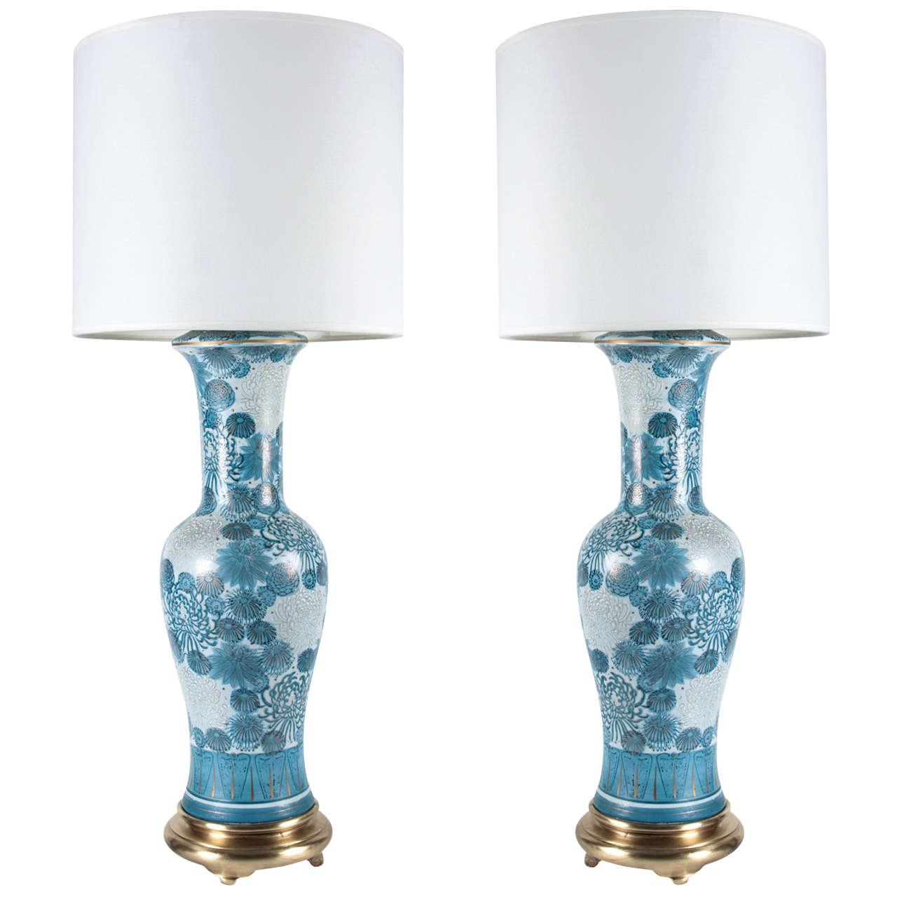 Antique porcelain table lamps - Blue Chrysanthemum Porcelain Lamps By Marbro 1