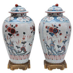 Pair of Hand-Painted, Delft Urns