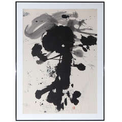 Large Original Sumi Ink Drawing, 1970s