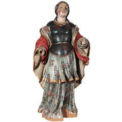 Large, 18th c., Polychrome Statue