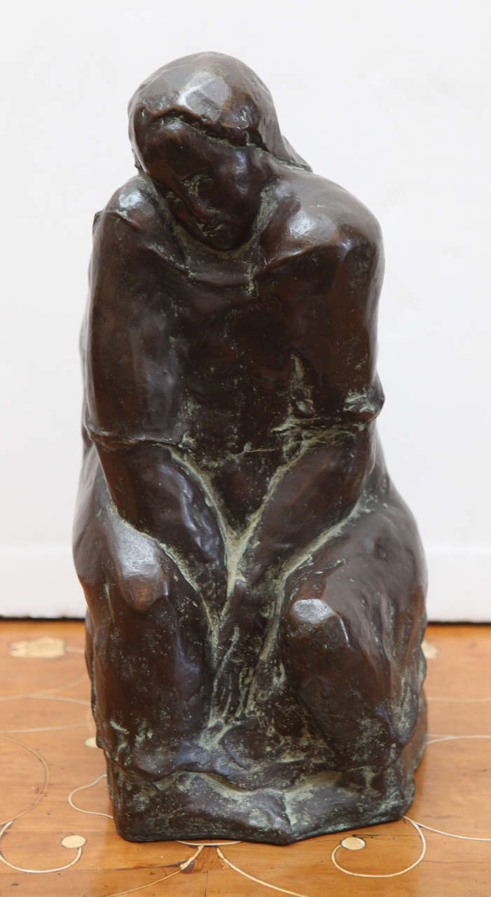 Hand-cast, bronze sculpture of a seated woman by listed, Swiss artist, Robert Lienhard (1919-1989).  Signed and numbered on base, #5 of 7.