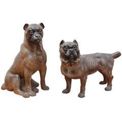 Victorian Terracotta Dogs