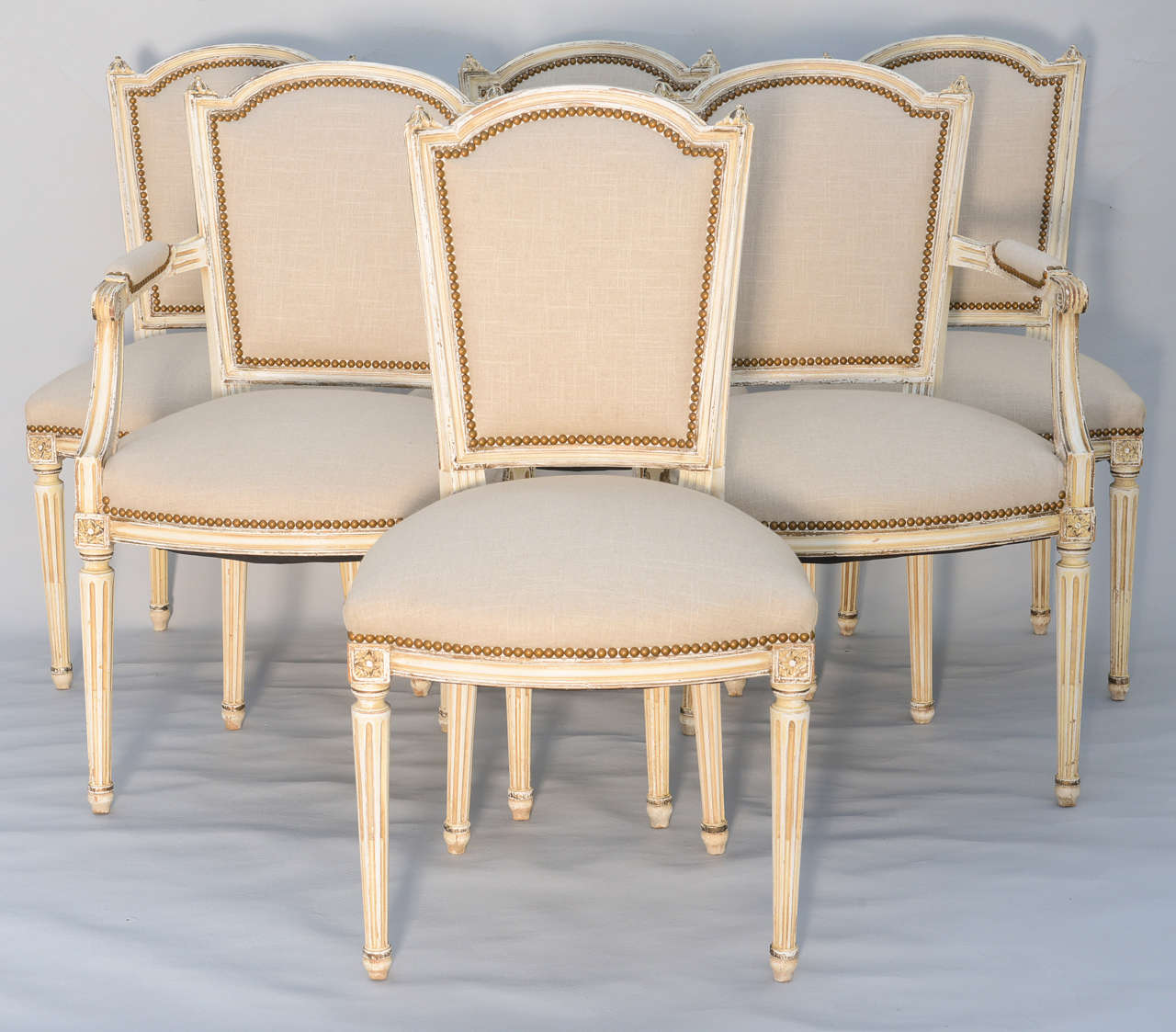 Merveilleux Set Of 6 Dining Room Chairs (two Armchairs And Four Side Chairs), Distressed