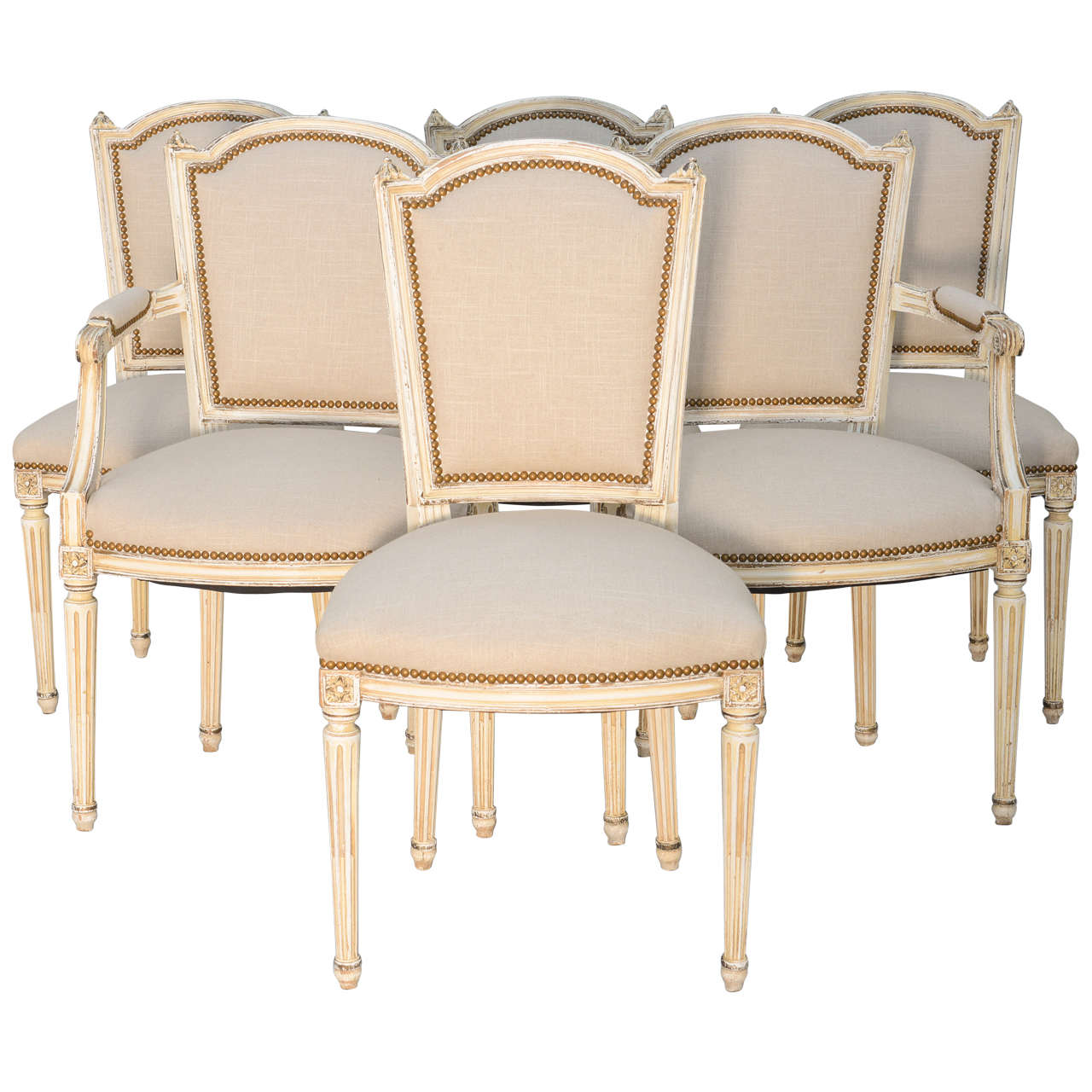 Set Of Six French Dining Room Louis XVI Chairs For Sale