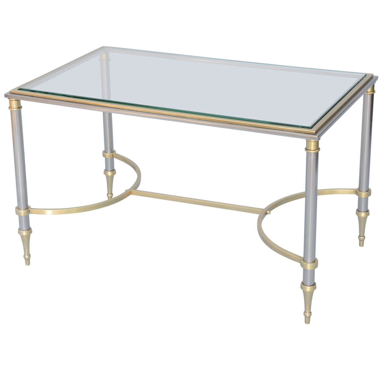 Jansen Polished Steel And Brass Cocktail Table At 1stdibs