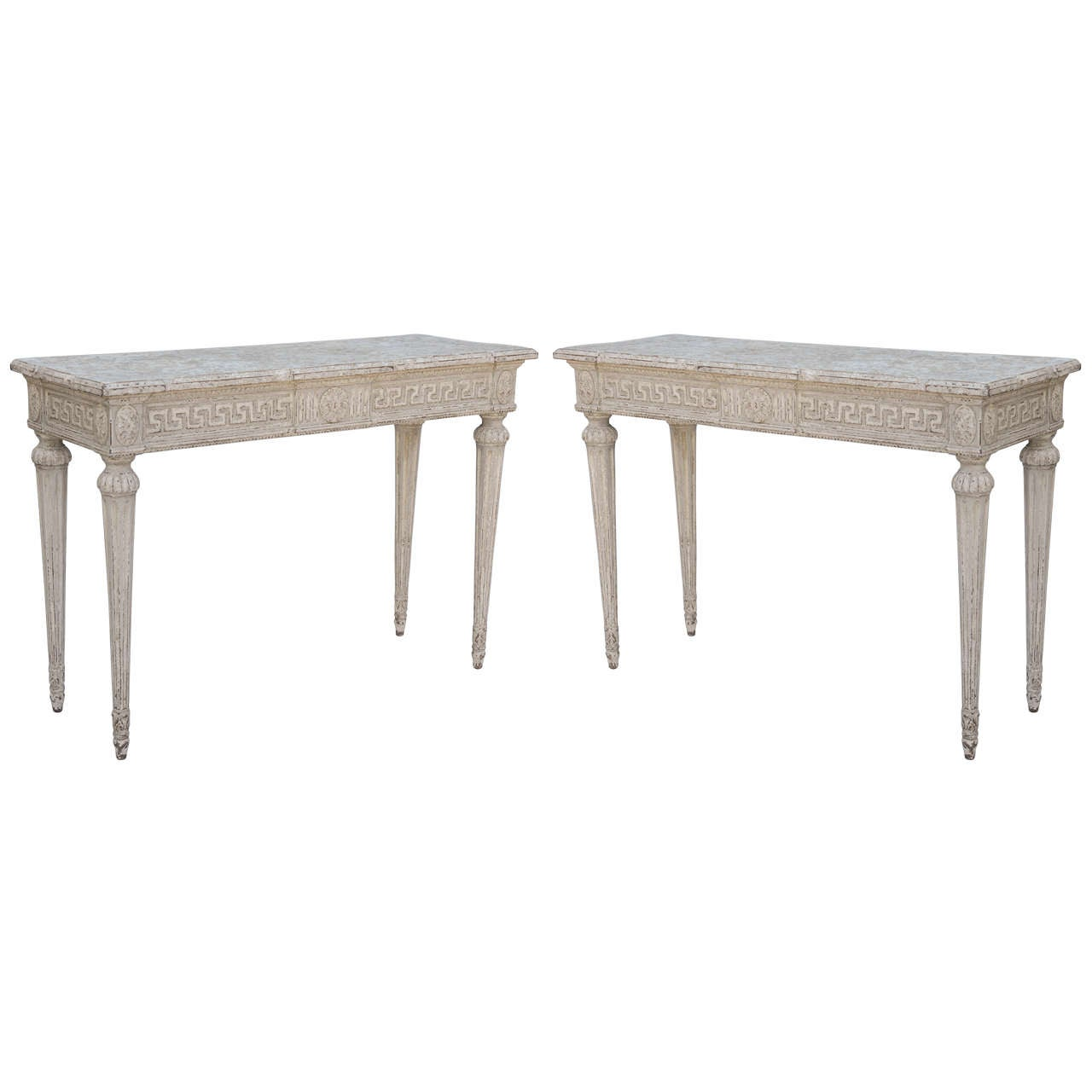 French Console Table pair of painted 19th century french console tables with greek key