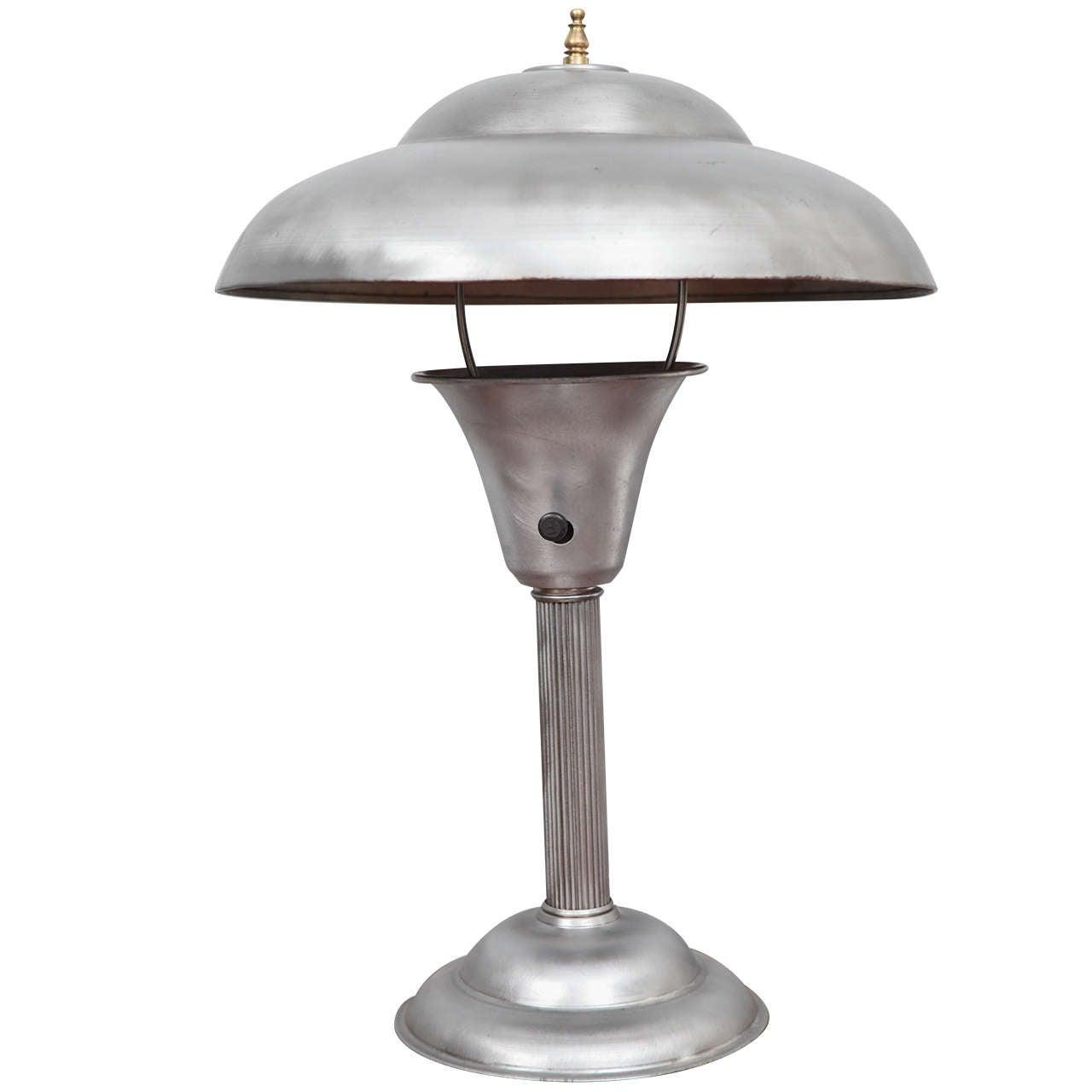 1930's Brushed Steel Desk Lamp