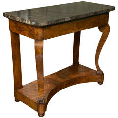 Walnut Burl Console Table with Marble Top