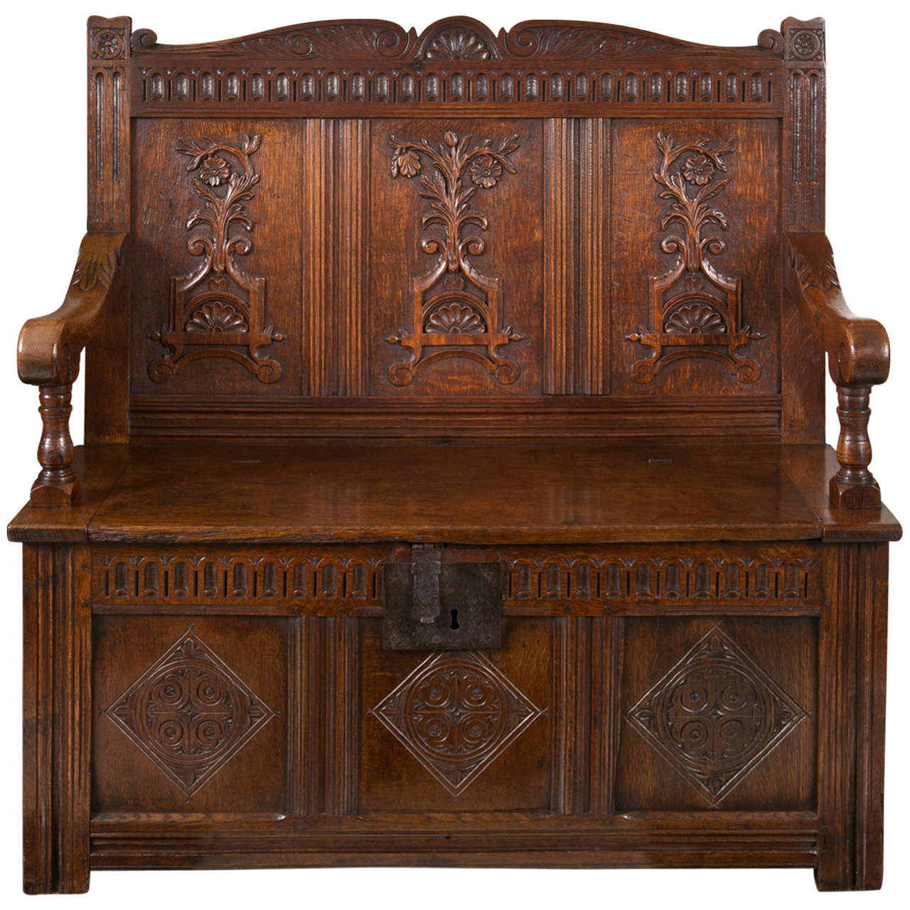Carved Oak Settle with Storage