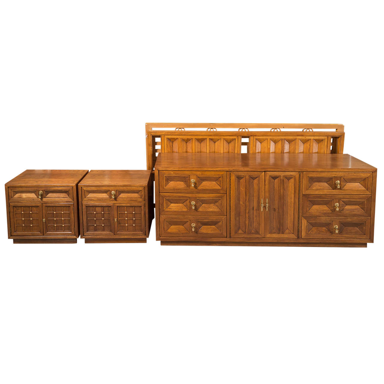 6957b65e4eab1 American of Martinsville Spanish Revival Walnut King Headboard For Sale