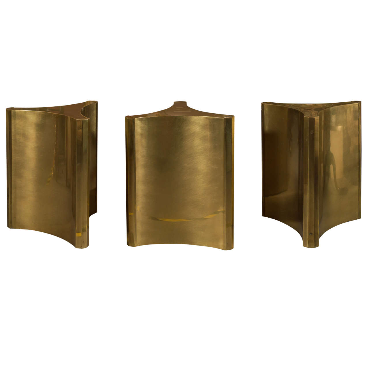 Mastercraft brass dining table - 3 Mastercraft Brass Dining Table Pedestals Sale 1