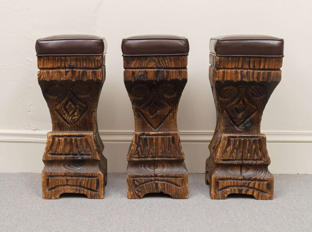 Three s Witco Carved Tiki Bar Stools with Leather Seats 2