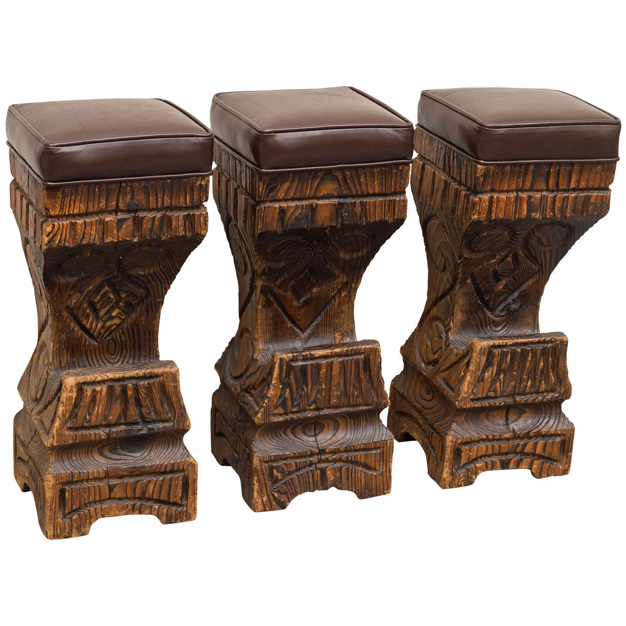 Three 1970s Witco Carved Tiki Bar Stools With Leather Seats At 1stdibs
