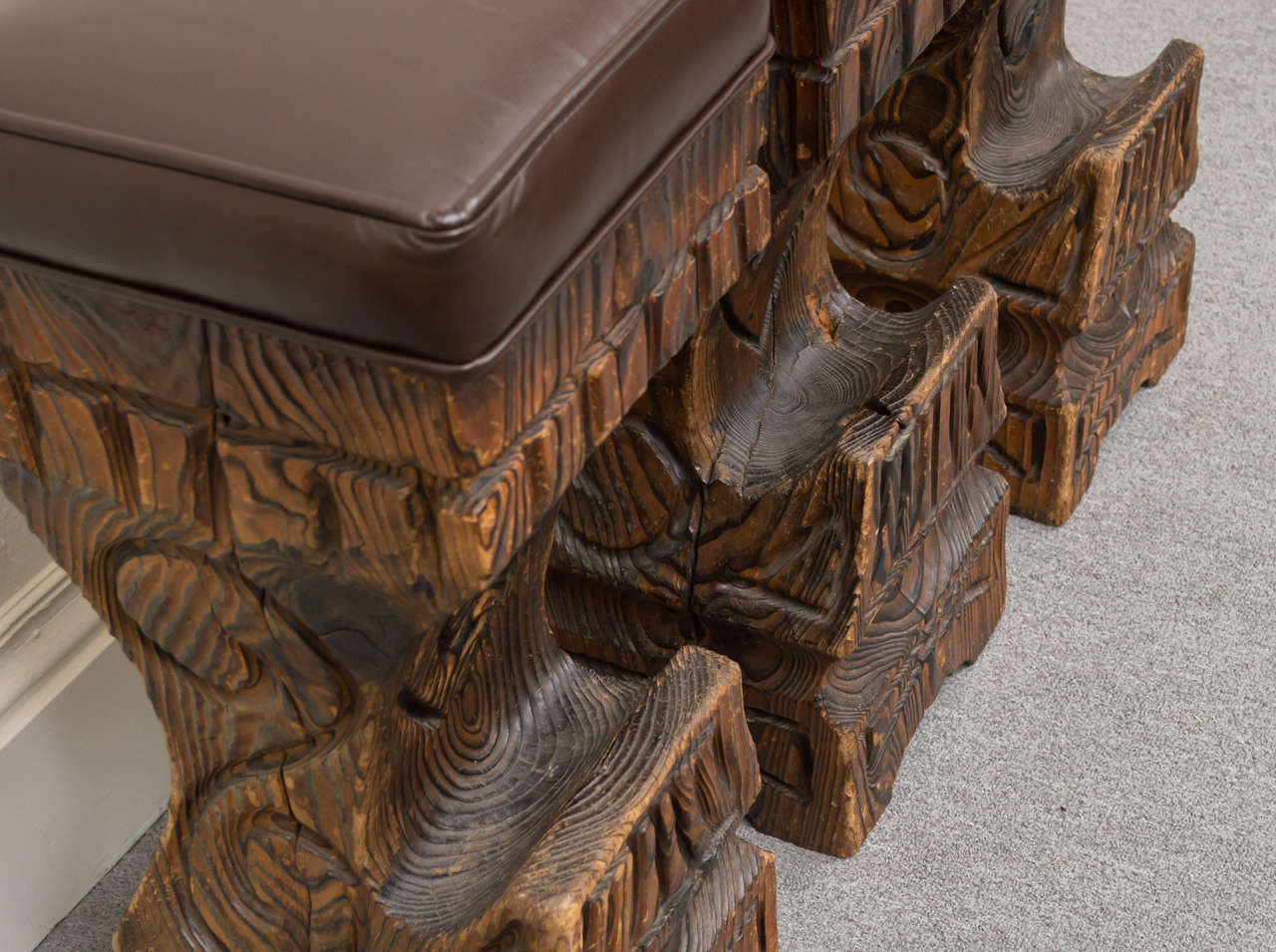 Three 1970s Witco Carved Tiki Bar Stools With Leather