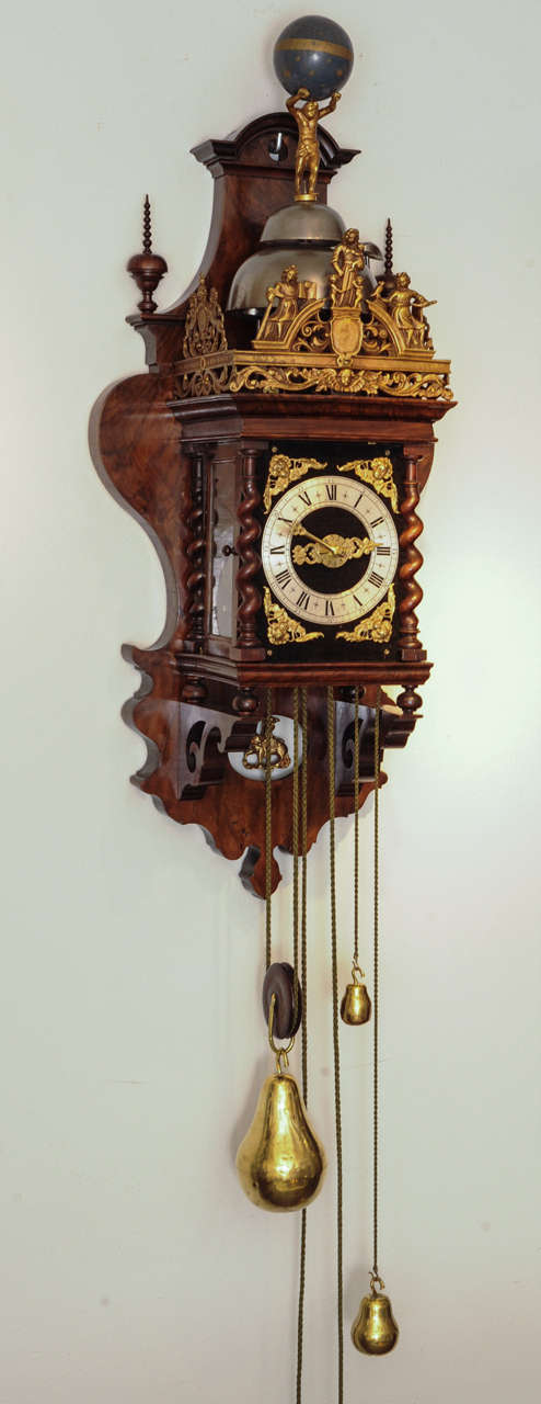 A Good Dutch Zaanse Rosewood Wall Clock Cornelis Van