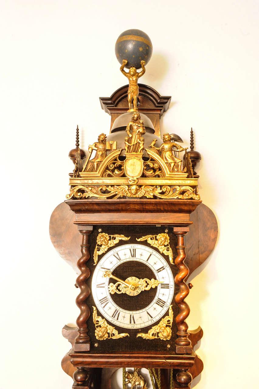 A Good Dutch Zaanse Rosewood Wall Clock, Cornelis van ...