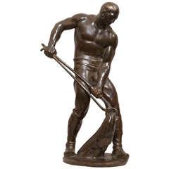 """Bronze Figure of a Male Worker """"Der Gerber"""""""