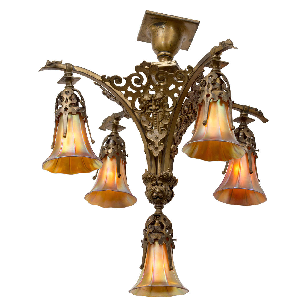 Victorian gothic five arm chandelier with period art glass shades at victorian gothic five arm chandelier with period art glass shades for sale aloadofball Gallery