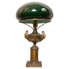 Bronze Table Lamp with Swans and Original Cased Green Glass Shade
