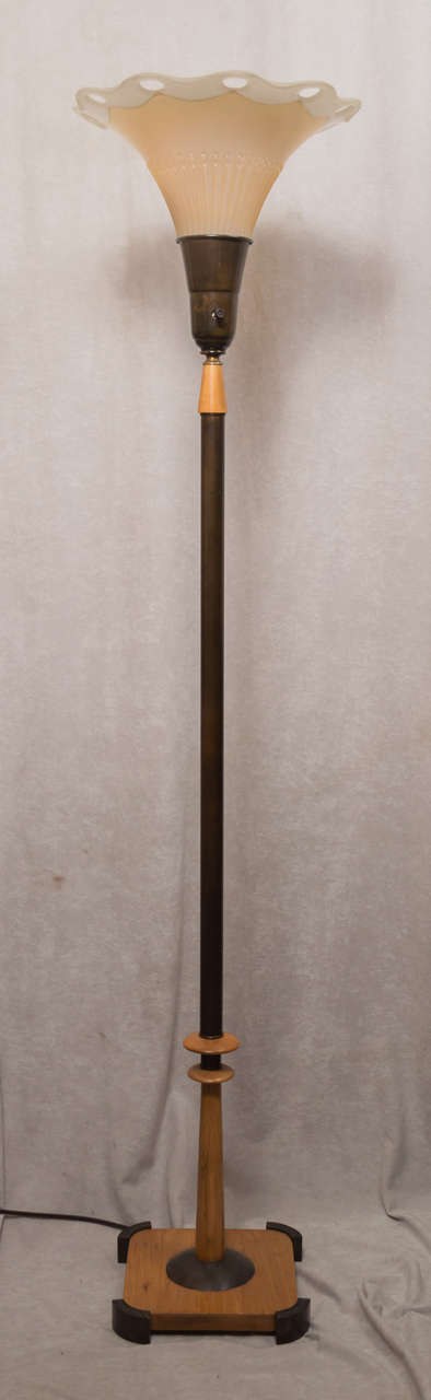 Mid century modern torchiere floor lamp for sale at 1stdibs for Modern torch floor lamp