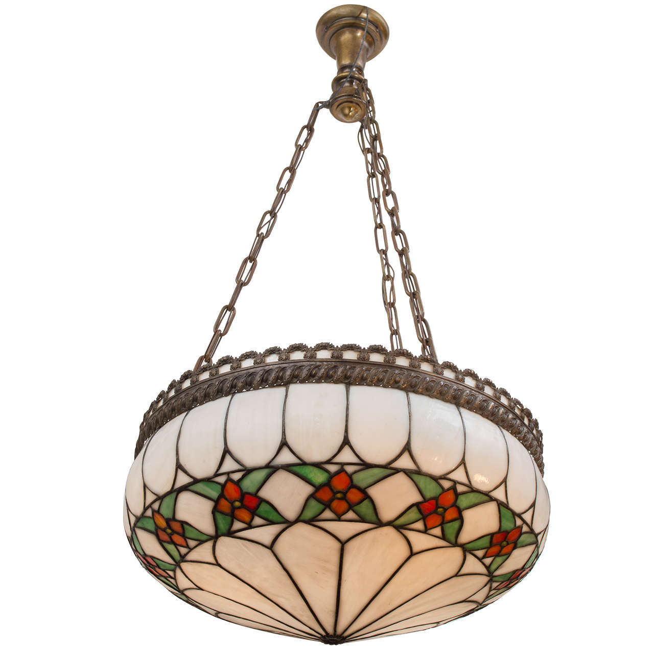 Leaded Glass Inverted Pendant Chandelier For Sale At 1stdibs