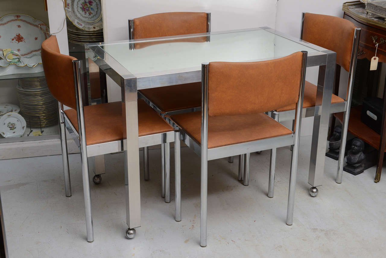 Chrome And Glass Table With 4 Chrome Upholstered Chairs Dinette Set At 1stdibs