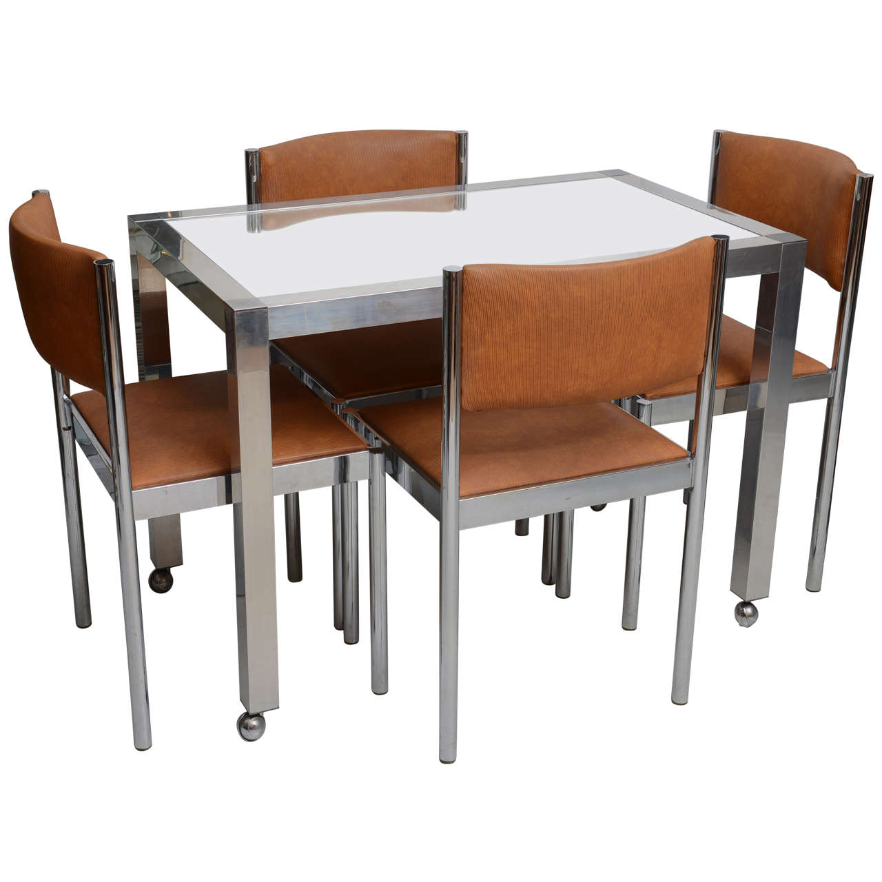 Chrome And Glass Table With 4 Chrome Upholstered Chairs