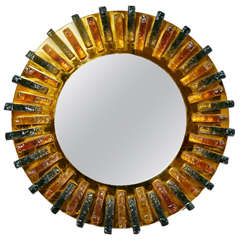 1960s Colored Glass Work Circle Wall Mirror