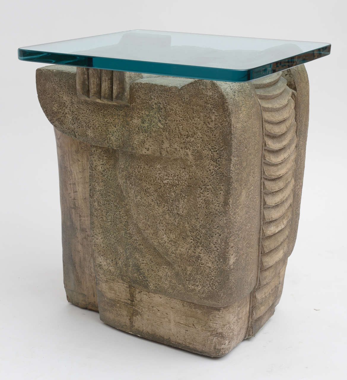 A nice pair of side tables drawing their inspiration from the work of Constantin Brancusi.Glass top is 16' x 16