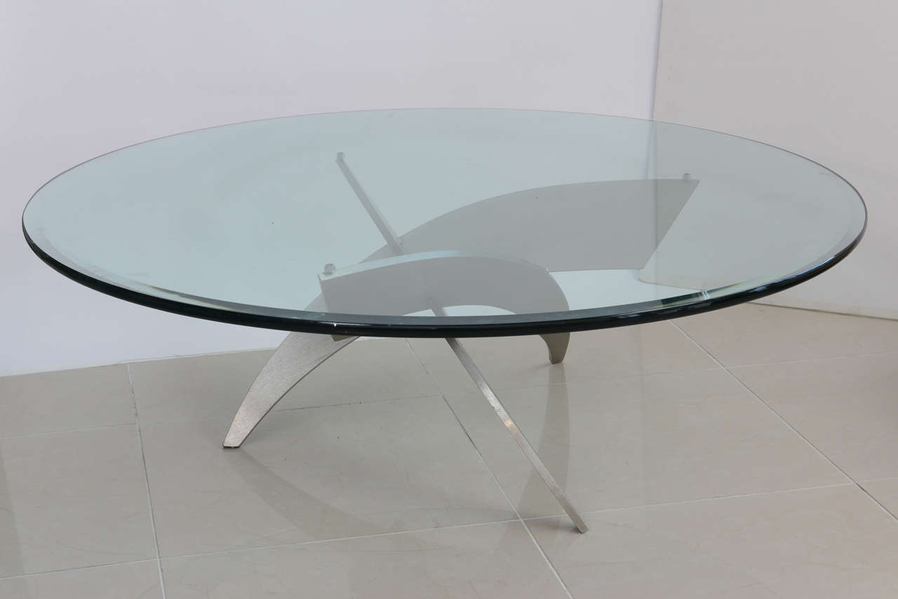 Italian Modern Stainless Steel And Glass Low Table For Sale At 1stdibs