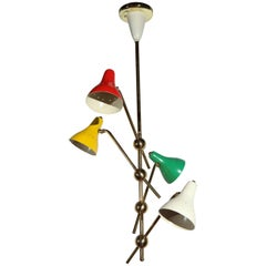 Red, White, Green and Yellow Ceiling Fixture by Jacques Biny