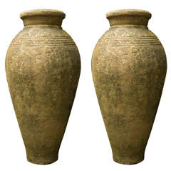 Pair of Cast Cement Storage Jars